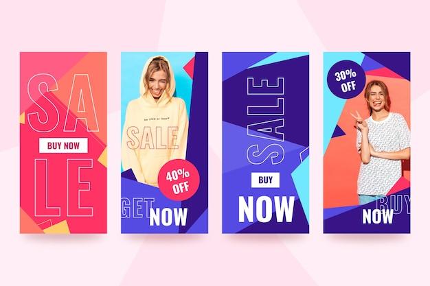 Abstracte kleurrijke instagram verkoop storie