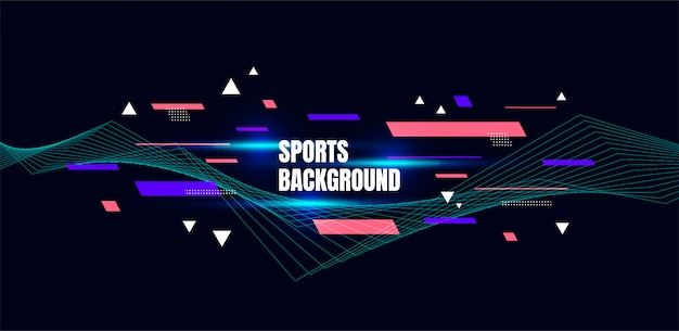 Abstracte kleurrijke kunst voor sportachtergrond. dynamische deeltjes