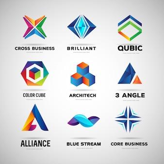Abstracte kleurrijke logo-collectie