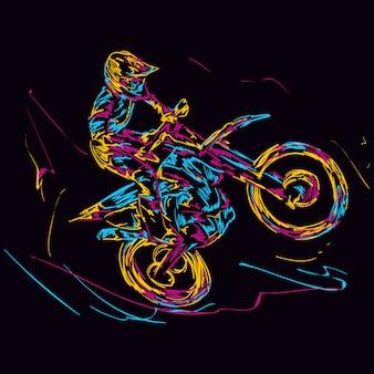 Abstracte kleurrijke motorcross
