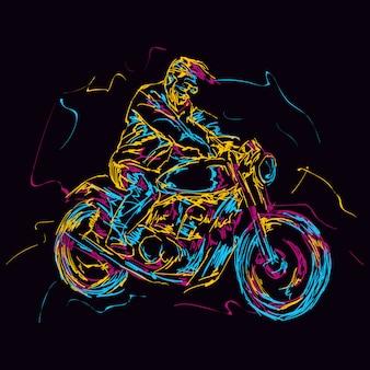 Abstracte kleurrijke motorrijder