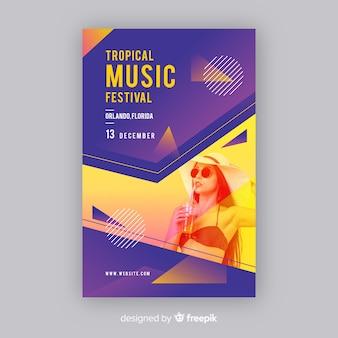 Abstracte kleurrijke muziek poster sjabloon met foto