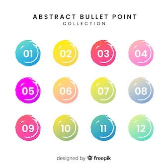 Abstracte kleurrijke opsommingstekeninzameling
