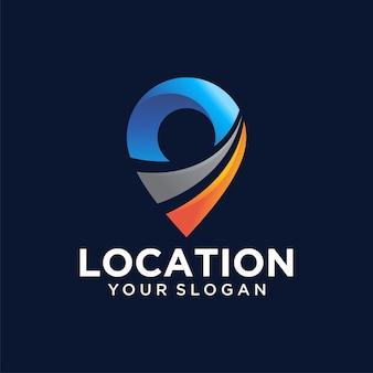 Abstracte kleurrijke pin locatie logo sjabloon