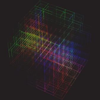Abstracte kleurrijke plexus kubus achtergrond