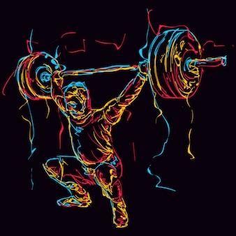 Abstracte kleurrijke powerlifter