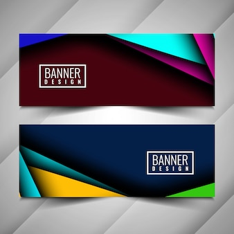 Abstracte kleurrijke stijlvolle banners instellen