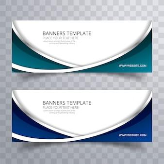 Abstracte kleurrijke stijlvolle golvende banners instellen vector