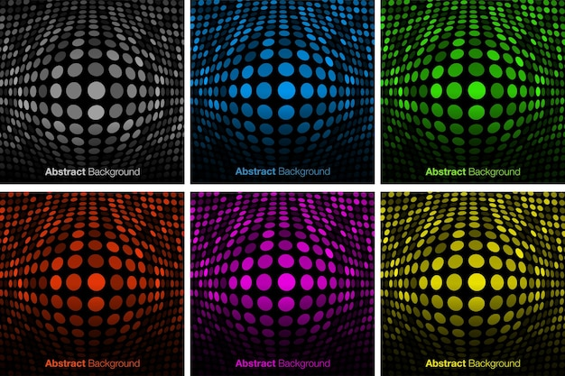 Abstracte kleurrijke technologie achtergrond set uitpuilende gloed achtergrond convexe gloeiende rand vector