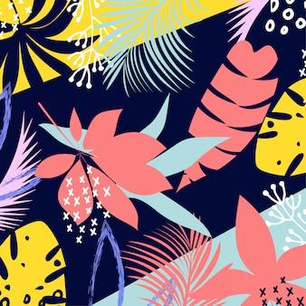 Abstracte kleurrijke tropische bladeren en bloemen