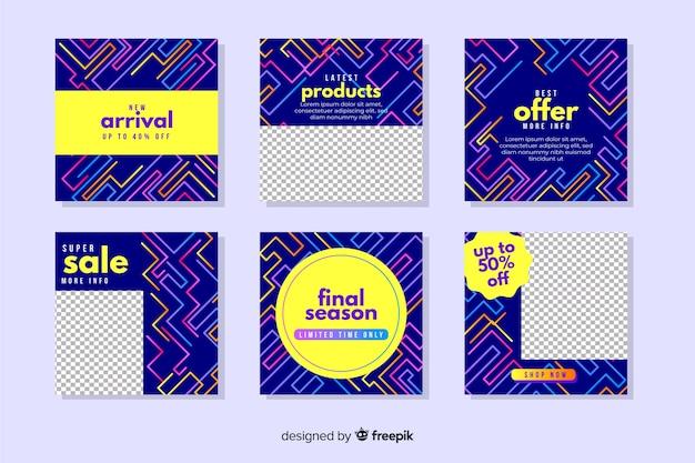 Abstracte kleurrijke verkoop instagram postinzameling