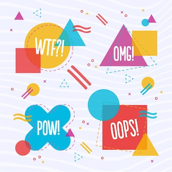 Abstracte kleurrijke vormen met tekst