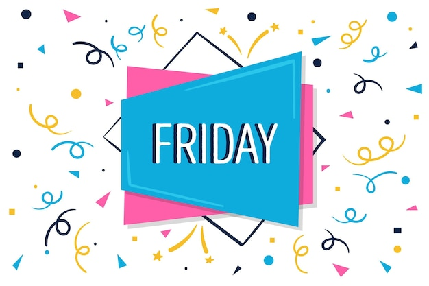 Abstracte kleurrijke vrijdag achtergrond met confetti