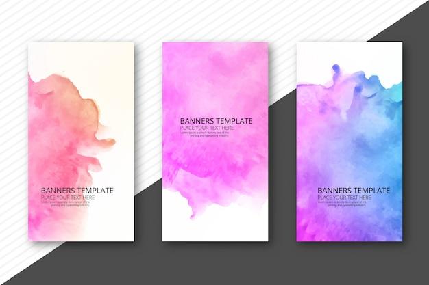 Abstracte kleurrijke waterverfbanners geplaatst ontwerp