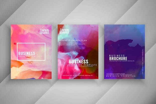 Abstracte kleurrijke zakelijke brochure ontwerpset