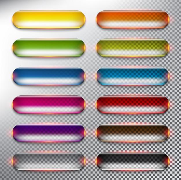 Abstracte knoppen voor het web set van 12. kleurrijke glanzende knoppen. geïsoleerd