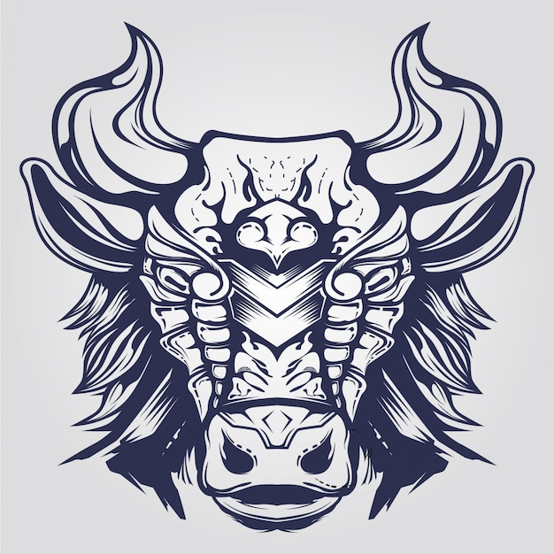 Abstracte koe tatto met hoorn