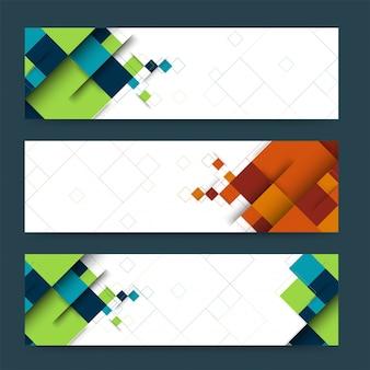 Abstracte koptekst of banner set met geometrische vormen.
