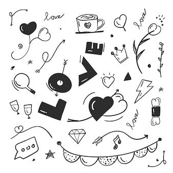 Abstracte krabbel doodle elementen met liefde concept