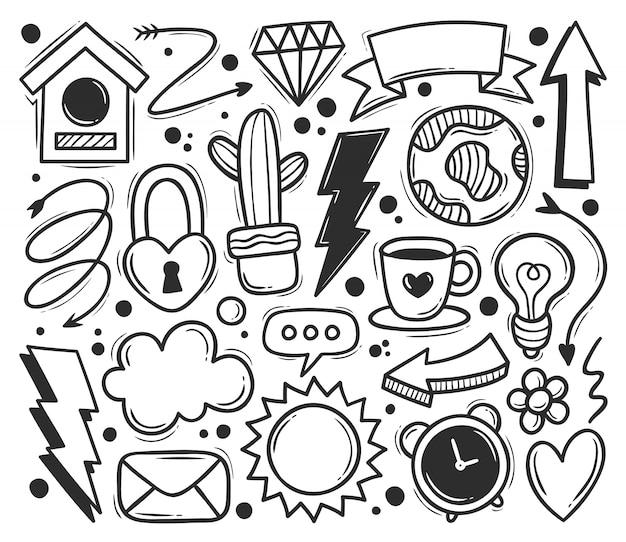 Abstracte krabbel pictogrammen hand getrokken doodle kleuren