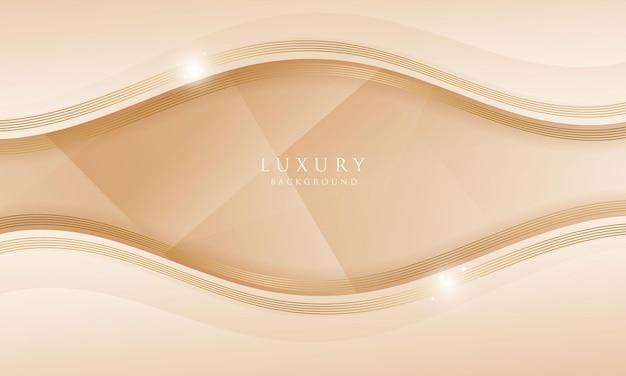 Abstracte kromme gouden lijn luxe achtergrond met sprankelend effect elegante golf voorbladsjabloon