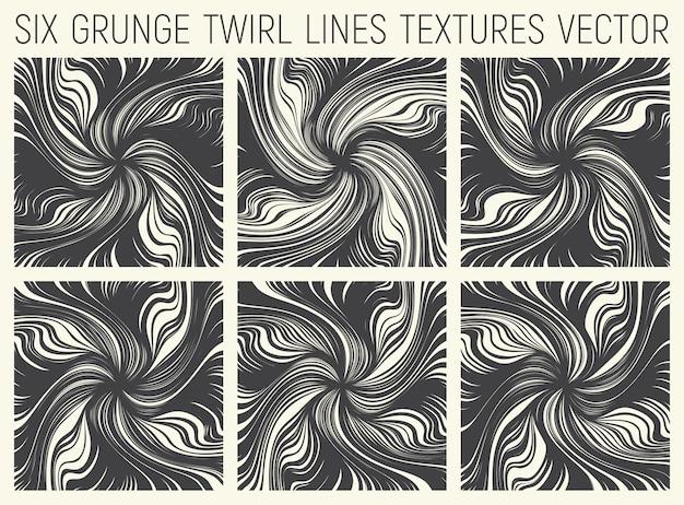 Abstracte kronkellijnen texturen set