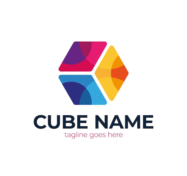 Abstracte kubus logo.