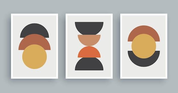Abstracte kunst aan de muur schilderij met boho kleuren achtergrond minimalistische geometrische elementen