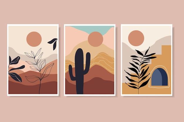 Abstracte kunst aan de muur set met landschap dessert handgetekende planten eigentijds