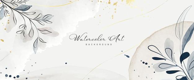 Abstracte kunst aquarel aarde toon botanische en gouden lijn voor natuur banner achtergrond. met de hand geschilderd waterverfontwerp geschikt voor gebruik als kop-, web-, wanddecoratie. borstel in bestand.