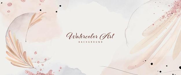 Abstracte kunst aquarel bladeren met rose goud folie voor natuur banner achtergrond. aquarelkunstontwerp geschikt voor gebruik als kop-, web-, wanddecoratie.