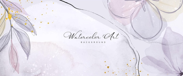 Abstracte kunst aquarel paarse bloem botanische en gouden glitter voor natuur banner achtergrond. aquarelkunstontwerp geschikt voor gebruik als kop-, web-, wanddecoratie. borstel in bestand. Premium Vector