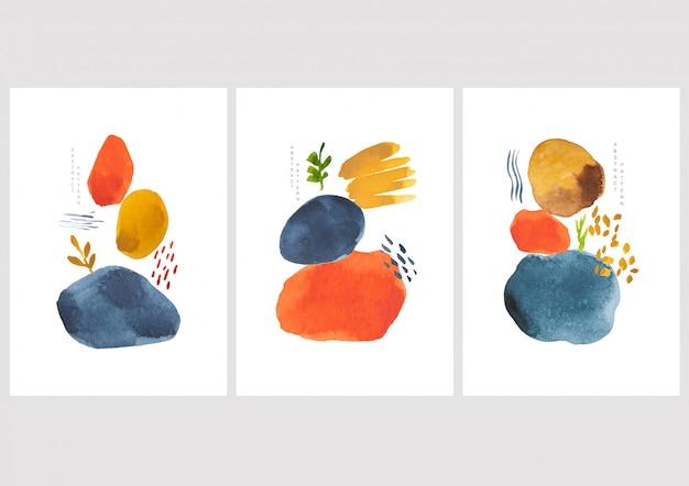Abstracte kunst met aquarel vlek elementen vector. schilderen penseel textuur decoratie met kunst acryl design.