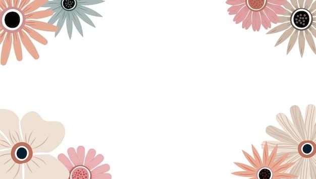 Abstracte kunst natuur achtergrond vector. trendy plantenframe. ontwerp achtergrondkleur bloemen, decoratieve prachtige tuin. botanische bladeren en bloemenpatroonontwerp voor de banner van de de zomerverkoop.