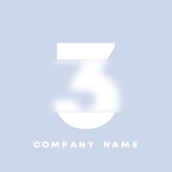 Abstracte kunst nummers 3 logo. glasmorfisme. wazig lettertype, typografieontwerp, alfabetletters en cijfers. defocus lettertypeontwerp, gericht en intreepupil stijlalfabet. vector illustratie