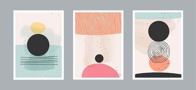 Abstracte kunstachtergrond met verschillende vormen voor de ansichtkaart of brochureomslag van de muurdecoratie
