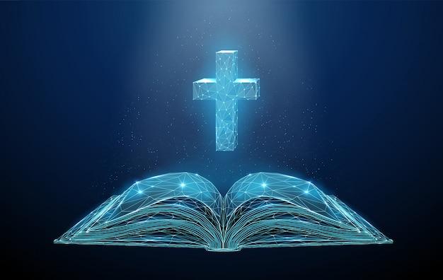 Abstracte laag poly open bijbel met kruis.