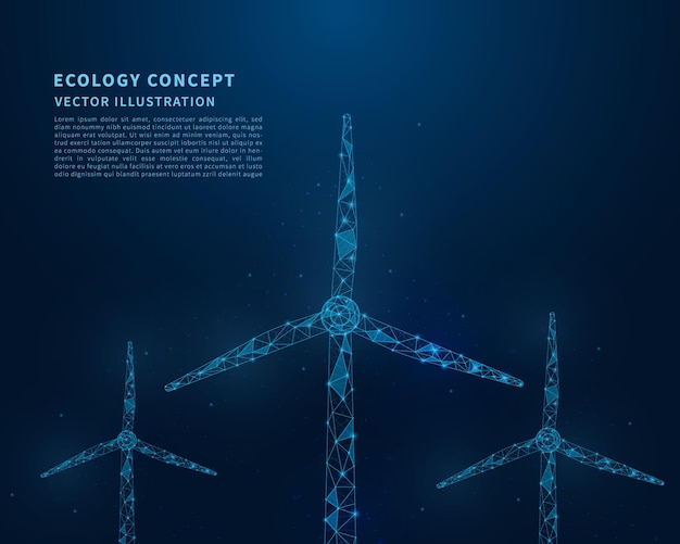 Abstracte laag poly windturbines