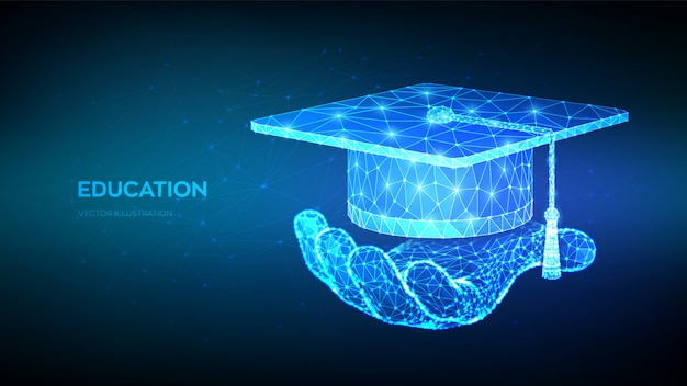 Abstracte laag veelhoekige graduation cap.