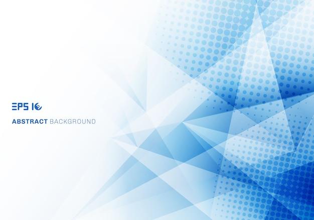 Abstracte lage poly blauwe driehoekenveelhoek en halftone met exemplaarruimte