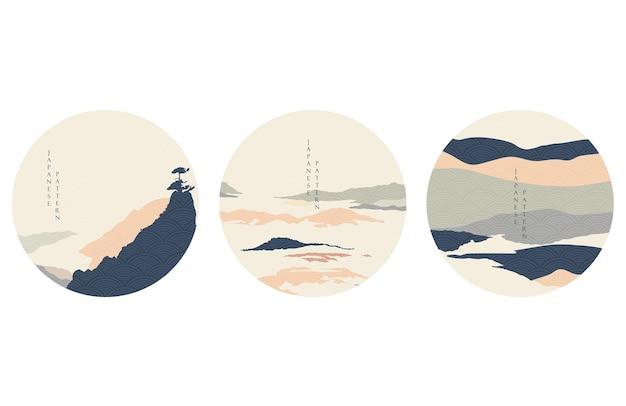 Abstracte landschapsachtergrond met bergbosmalplaatje. natuurlijk panorama met japanse golfpatroonillustratie. pictogram en symbool in vintage stijl.