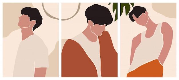 Abstracte landschapscollectie. man portretten in vintage kleuren. mannelijke vormen en silhouetten achtergrond.