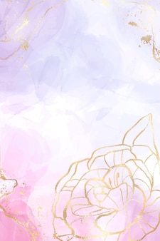 Abstracte lavendel vloeibare waterverfachtergrond met gouden bloemendecoratie-elementen
