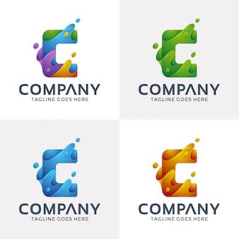 Abstracte letter c met 3d-stijl.