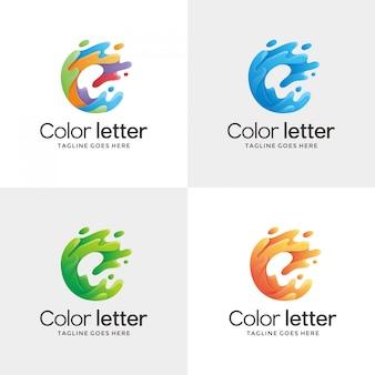 Abstracte letter e contour logo ontwerpsjabloon
