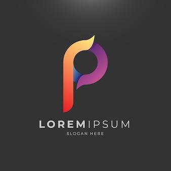Abstracte letter p verloop logo