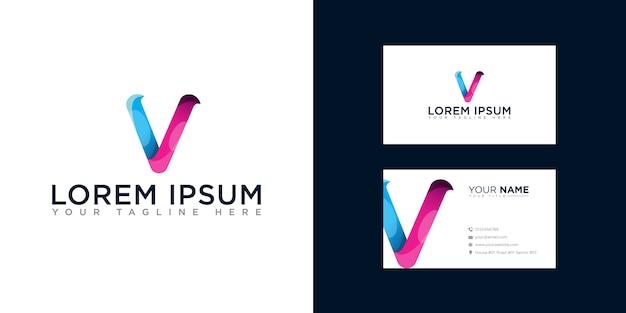 Abstracte letter v logo met sjabloon voor visitekaartjes
