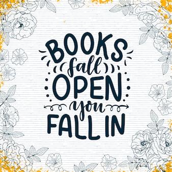 Abstracte letters over boeken en lezen voor posterontwerp. handgeschreven brieven. typografie grappig citaat. vector illustratie