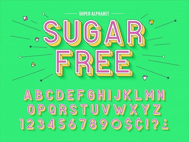 Abstracte lettertype, letters en cijfers illustratie. kleur sw