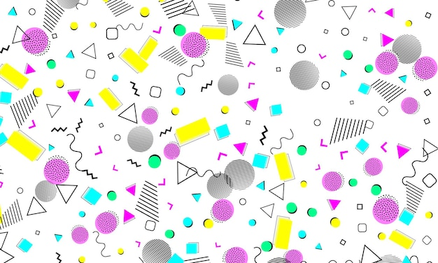 Abstracte leuke achtergrond. babypatroon. kleur stippen. hipster-stijl 80s-90s. funky abstract patroon. geometrische elementen.